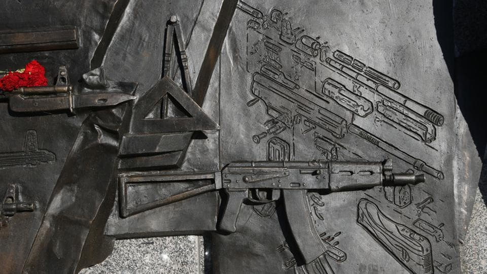 A view shows a fragment of a monument in Moscow to the Russian designer of the AK-47 assault rifle, Mikhail Kalashnikov, that featured the German StG44 rifle. The fragments was removed from the monument in downtown Moscow .