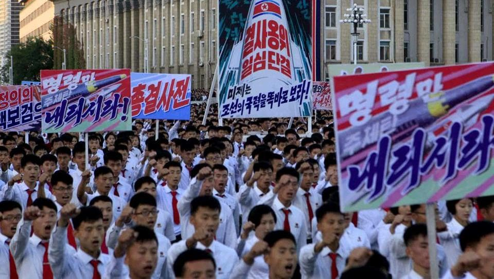 Hundreds of thousands of North Koreans gathered at Kim Il Sung Square to attend a mass rally against America on Saturday Sept. 23, 2017, in Pyongyang, North Korea, a day after the country's leader issued a rare statement attacking Donald Trump.