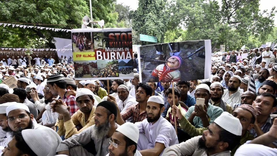People protest against the genocide of Rohingya Muslims in Myanmar, at Jantar Mantar in New Delhi on Thursday.