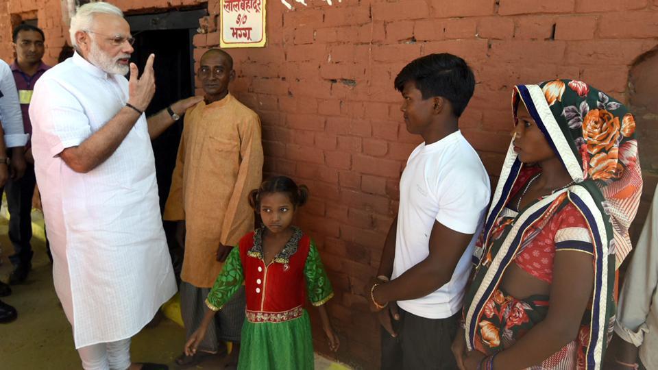 Prime Minister Narendra Modi interacts with the people of Shahanshahpur in Varanasi on Saturday. (Photo: PIB)