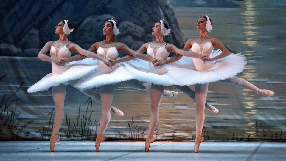 The Royal Russian Ballet theatre was founded in 2008 in Ukraine to save and promote the best traditions of Russian classical ballet. The ballet troupe includes 55 top ballet dancers from Ukraine, Russia, and elsewhere.  (Mohd Zakir/HT PHOTO)