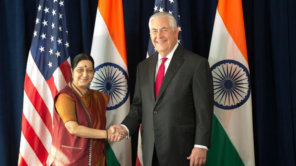 US secretary of state Rex Tillerson meets Indian external affairs minister Sushma Swaraj at the Lotte New York Palace Hotel on September 22, 2017.