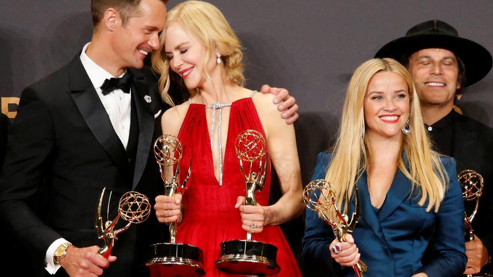 Alexander Skarsgard, Nicole Kidman, Reese Witherspoon and others pose with their Emmy for Outstanding Limited Series for Big Little Lies. (Lucy Nicholson  / REUTERS)