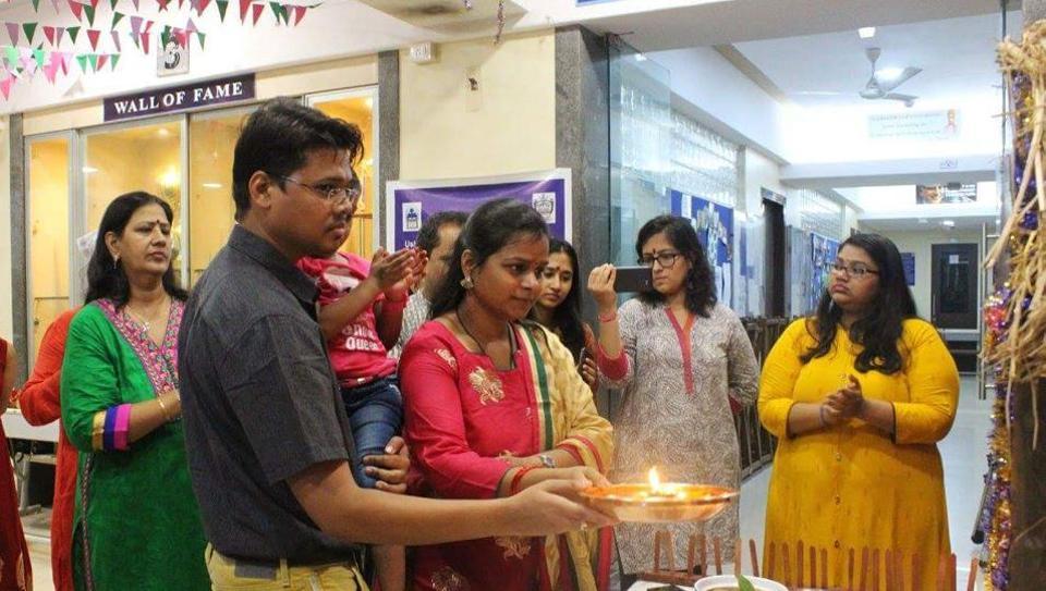 Students of UPG College celebrate Ganeshotsav on their college premises