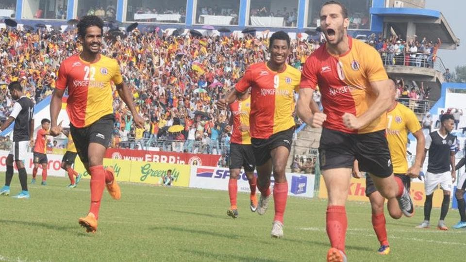 East Bengal's Mahmud Al-Amnah (right) scored their equaliser against Mohun Bagan in the Calcutta Football League derby.