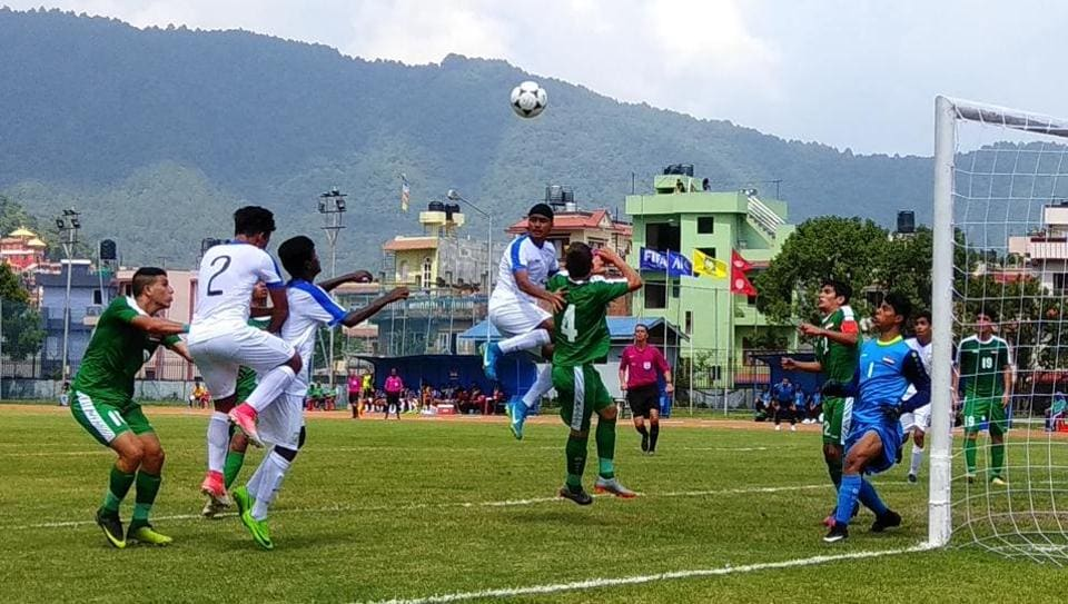 The India vs Iraq AFC U-16 Championship match in progress in Nepal.