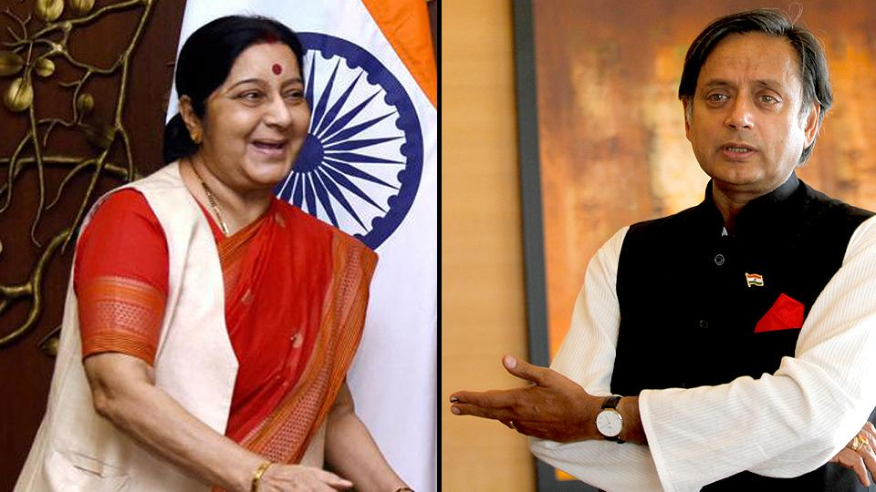 Congress leader Shashi Tharoor said Sushma Swaraj was justified in giving a befitting reply to Pakistan. (HT file photos)