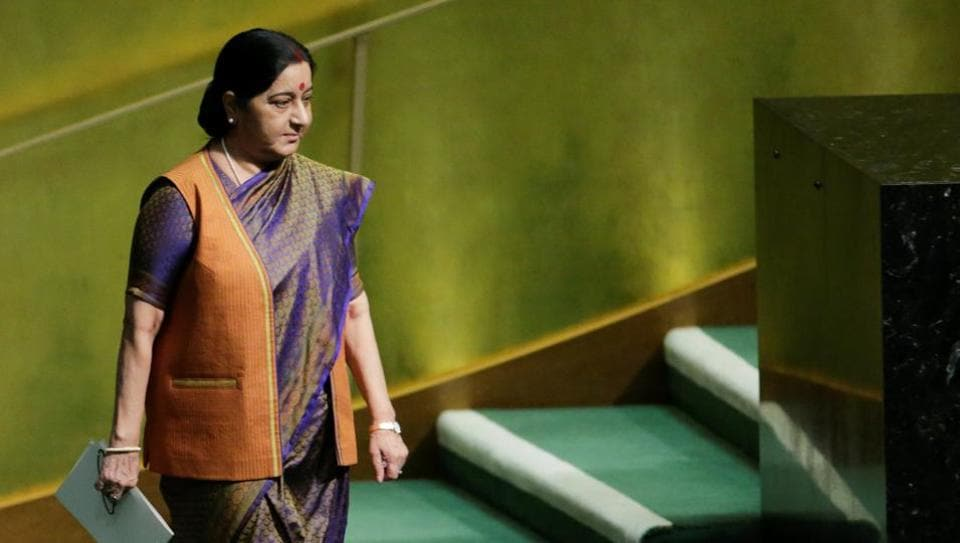 External affairs minister Sushma Swaraj arrives to address the 72nd United Nations General Assembly at the UN headquarters in New York.