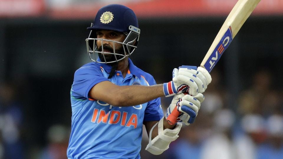 Ajinkya Rahane in action during the 3rd One Day International between India and Australia at the Holkar Stadium in Indore.