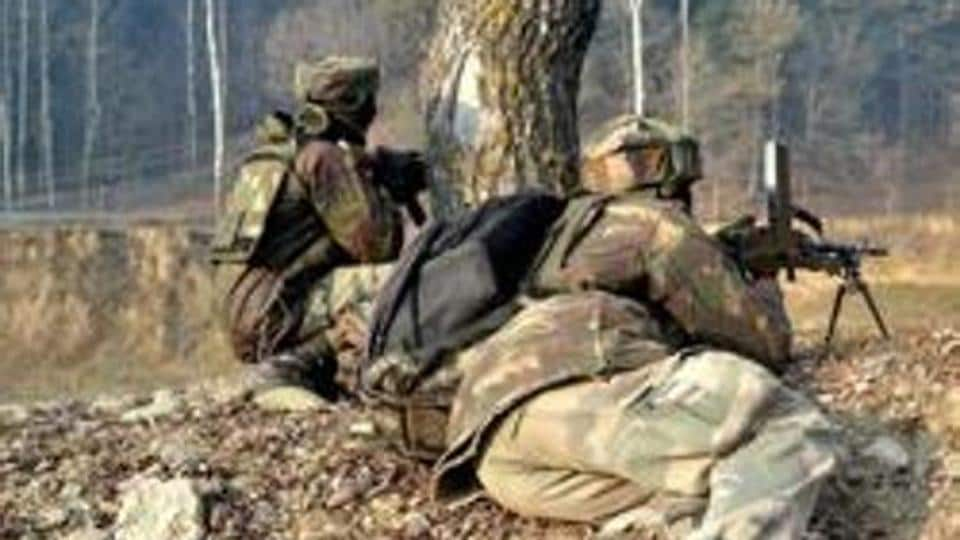 Army personnel in position during an encounter in Kupwara, Kashmir.