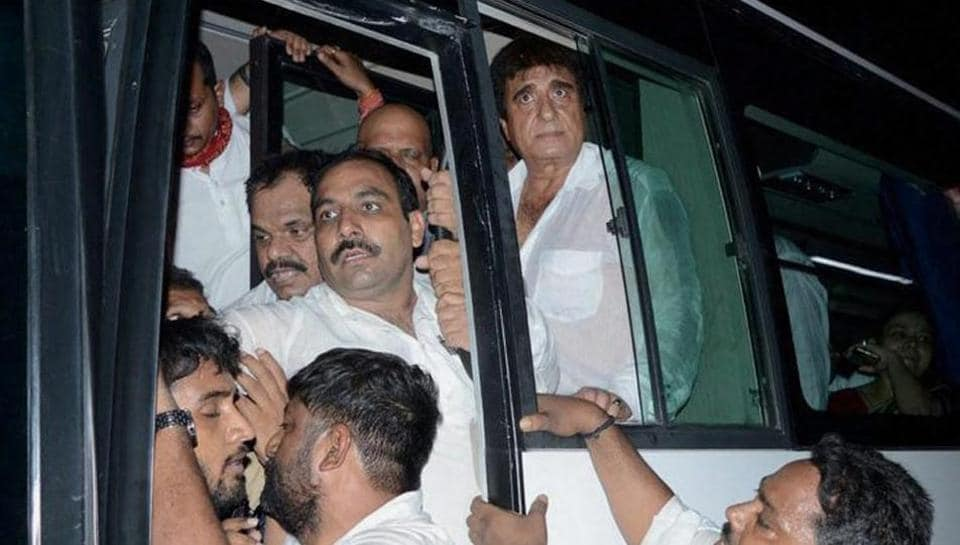 UP Congress president Raj Babbar and other leaders being detained in Varanasi on Sunday.