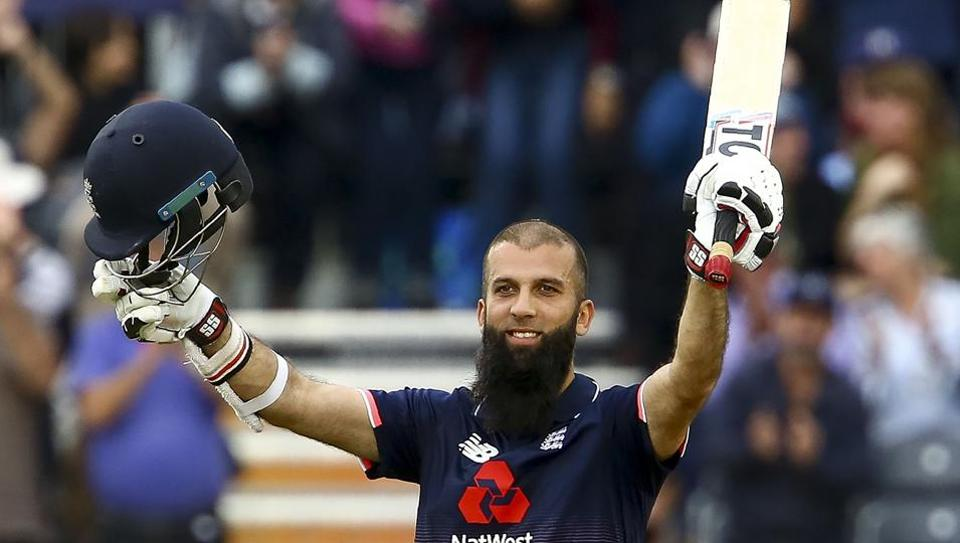 Moeen Ali gestures after reaching his century off 53 balls during the third one day international cricket match played between England and the West Indies at the Brightside Ground in Bristol on September 24, 2017.