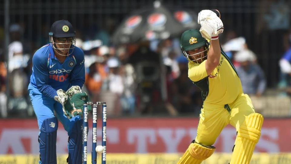 Aaron Finch in action during the 3rd One Day International between India and Australia at the Holkar Stadium in Indore.