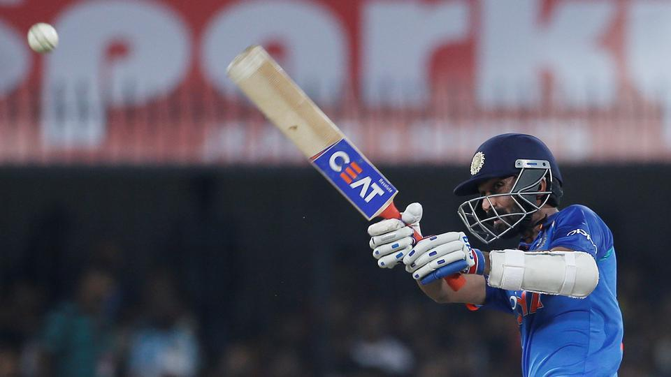 India's Ajinkya Rahane plays a shot during his 50-run knock.