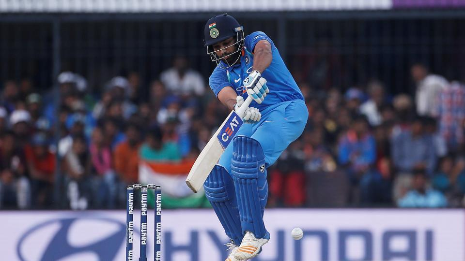 Rohit Sharma in action during the 3rd One Day International between India and Australia at the Holkar Stadium in Indore.