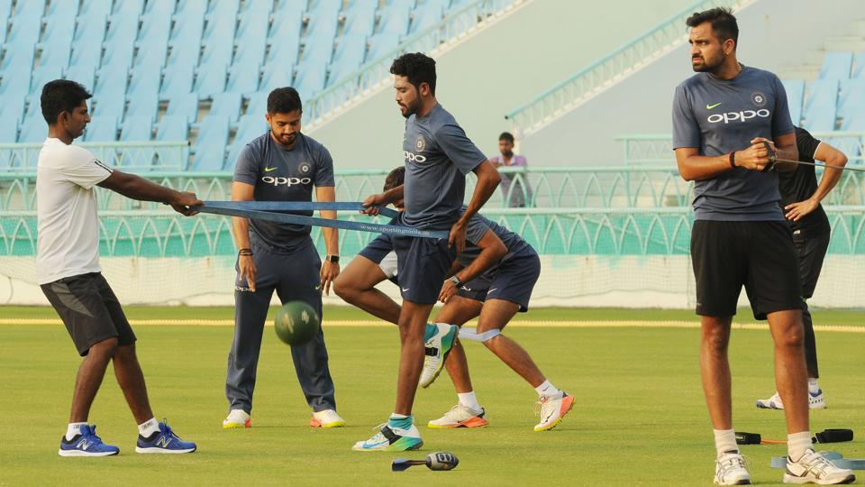 India Green Team training session at the Ekana International Cricket Stadium in Lucknow, India on September 6, 2017. Lucknow will now host the third ODI between India and New Zealand.