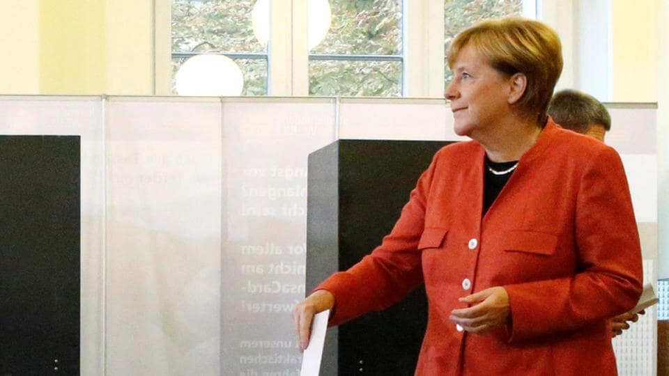 German Chancellor and leader of the Christian Democratic Union CDU Angela Merkel votes in the general election (Bundestagswahl) in Berlin, Germany, September 24, 2017.