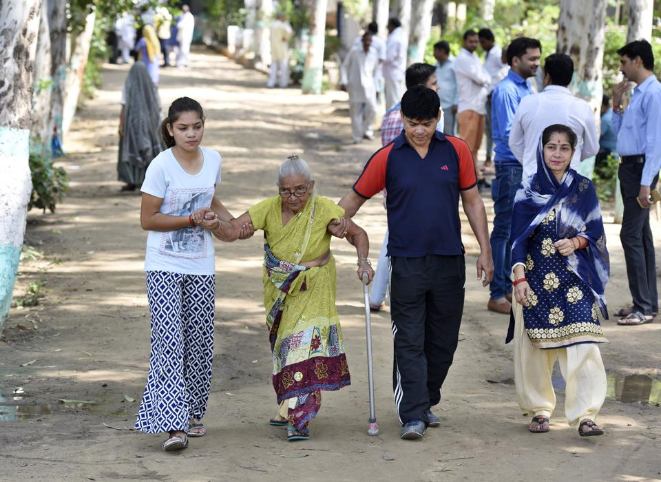Senior citizens reported early at their designated polling booths and candidates were even seen seeking their blessings.