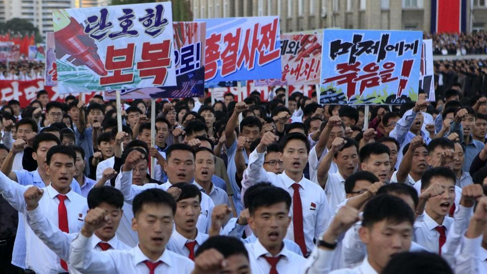 Hundreds of thousands of North Koreans gathered at Kim Il Sung Square to attend a mass rally against America on Saturday September 23 in Pyongyang, a day after the country's leader issued a rare statement attacking Donald Trump.
