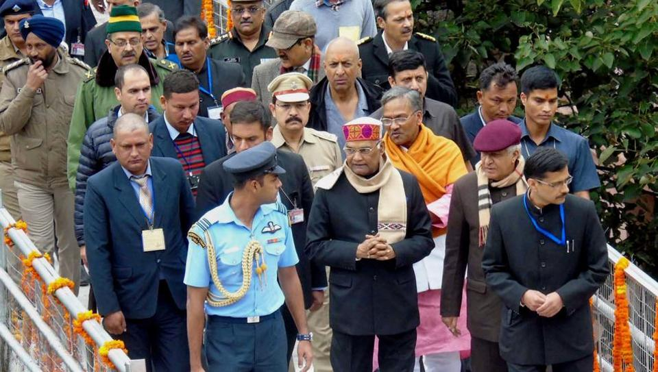 President Ram Nath Kovind with Uttarakhand Governor KK Paul and Chief Minister Trivendra Singh Rawat during a visit to Badrinath Dham in Chamoli district on Sunday.
