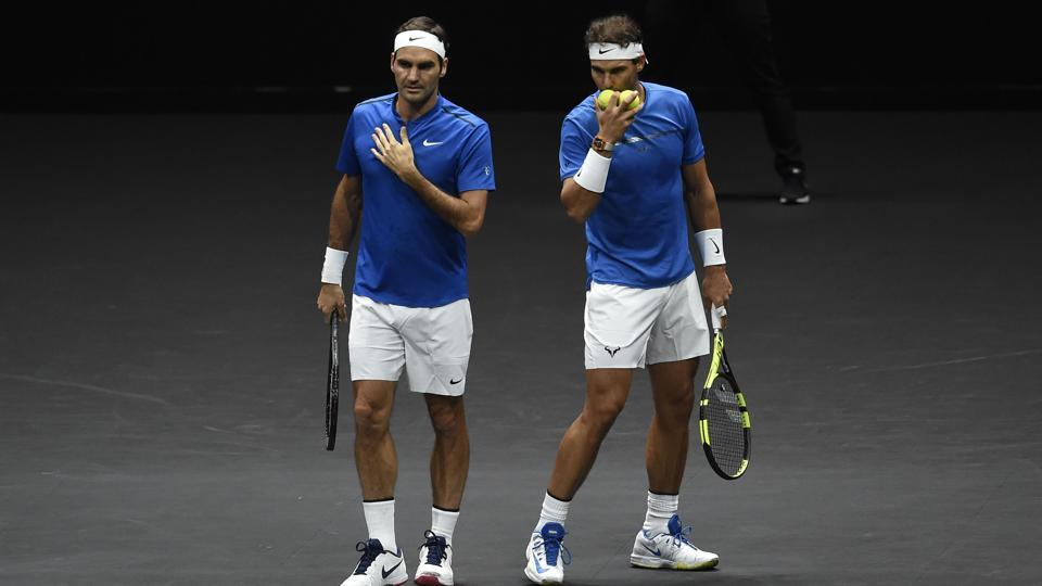 Roger Federer and Rafael Nadal teamed up for a Laver Cup match on Saturday.