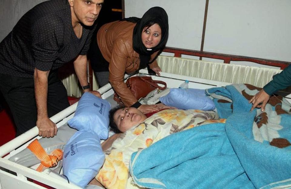 Eman Ahmed, one of the heaviest women in the world weighing 500 kg, at a Mumbai hospital early this year.