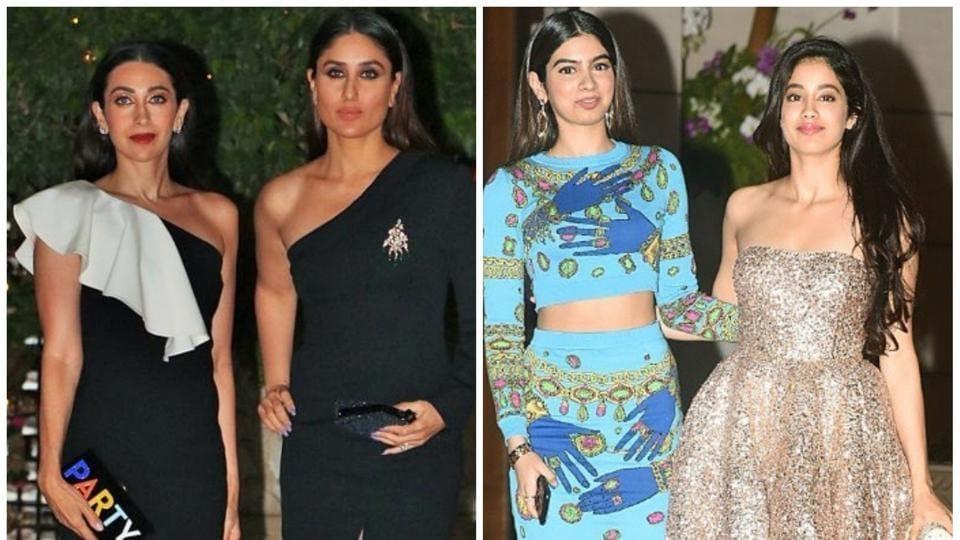 From left: Karisma Kapoor, Kareena Kapoor and Sridevi's daughters, Khushi and Jhanvi Kapoor.
