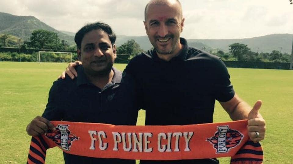 Ranko Popovic (right), the new head coach of Indian Super League (ISL)club FCPune City.
