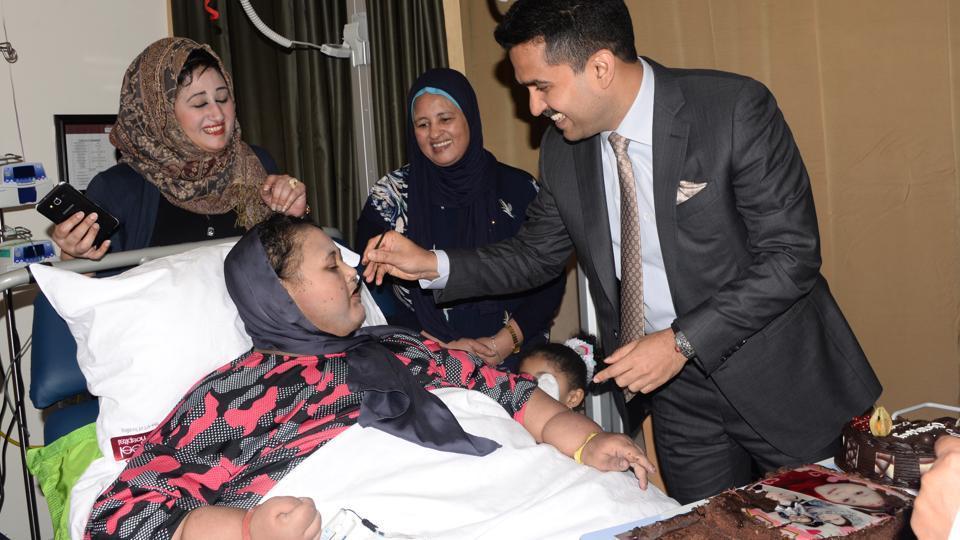 Eman Ahmed, 37, with Dr Shamsheer Vayalil during her birthday celebrations at Burjeel Hospital in Abu Dhabi.