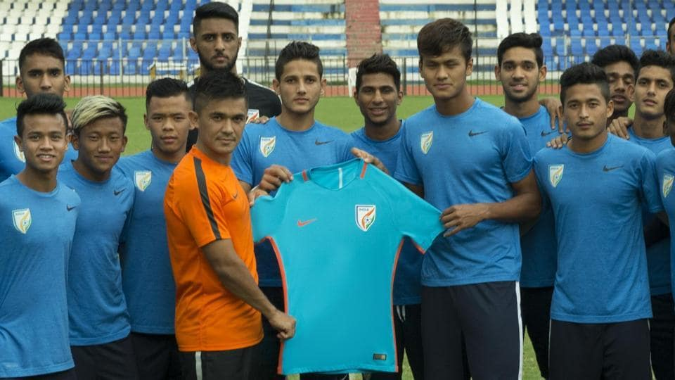 Sunil Chhetri (in orange jersey) says the experience of playing in the FIFA U-17 World Cup will help the Indian team.
