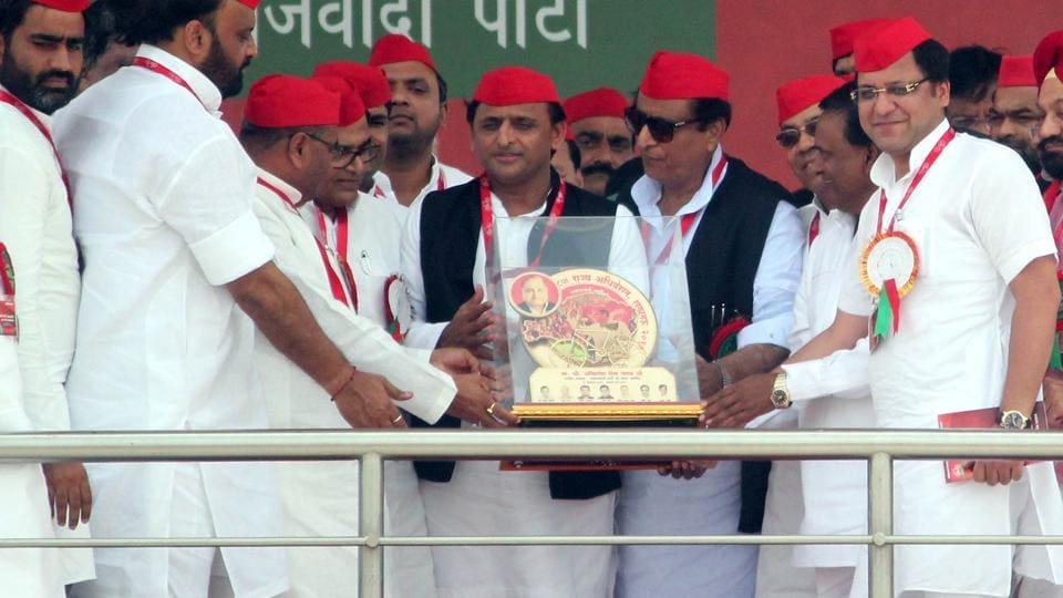 Samajwadi Party president Akhilesh Yadav at the state convention in Lucknow.