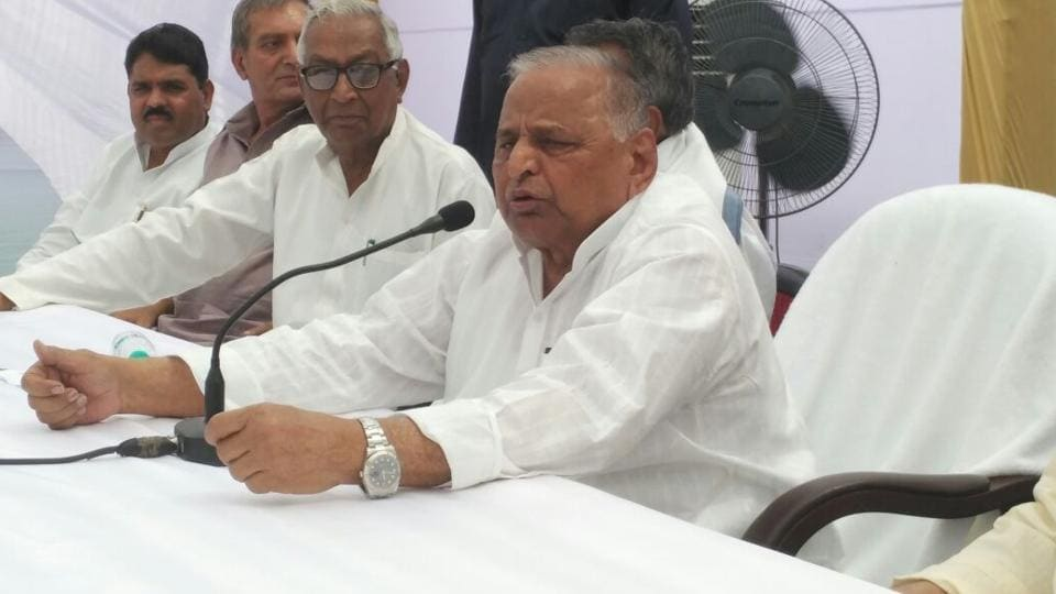 Samajwadi Party patriarch Mulayam Singh Yadav addresses a press conference at Lohia Trust in Lucknow on Monday.