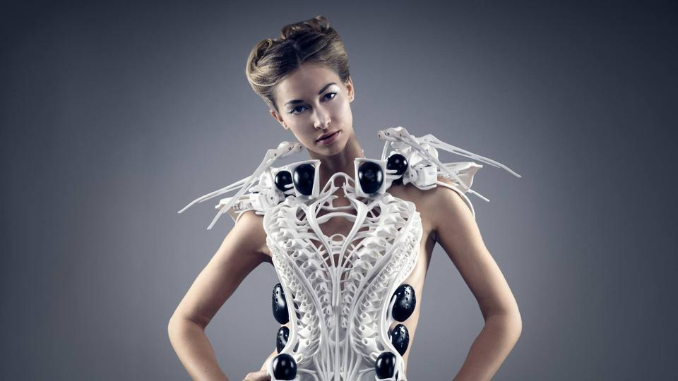 The Spider Dress is a 3-D printed garment topped with a collar that is studded with robotic spider legs.