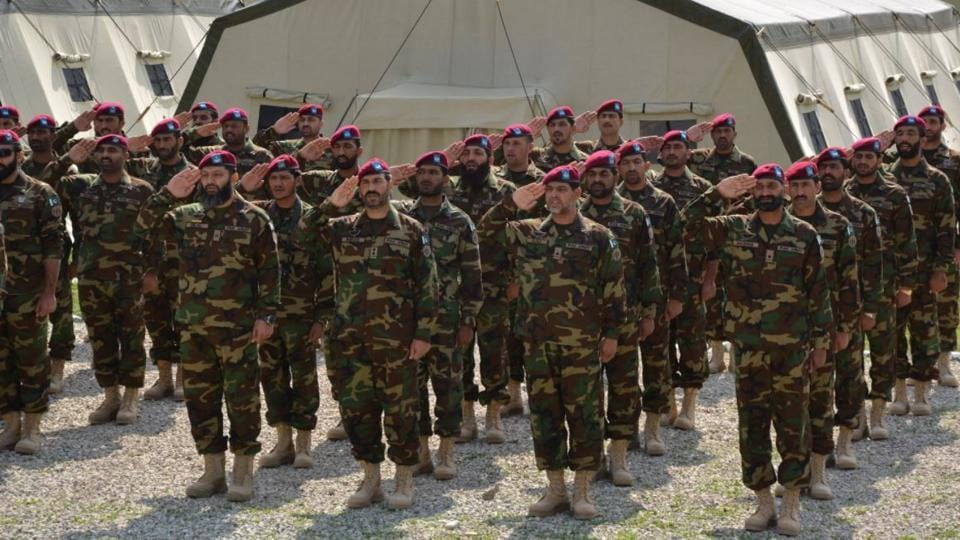 The special forces contingent from Pakistan that is participating in the joint military exercise with Russia ahead of the Pakistan Army chief's visit to Moscow next month.