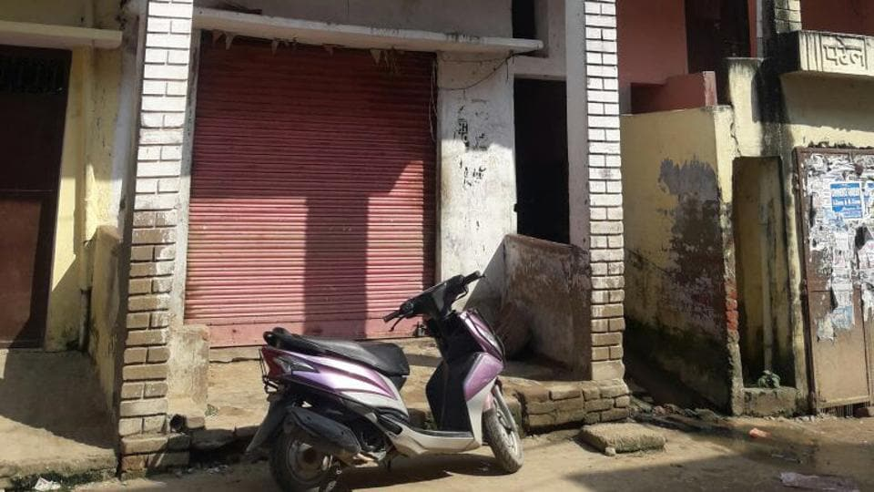 The closed shop of Raj Kumar Chaurasia, who was assaulted for allegedly informing police about a sex racket at Bhabua town in Bihar.