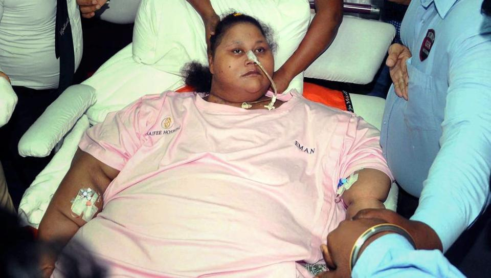 Egyptian woman Eman Ahmed, who was once considered the heaviest woman in the world, leaves Mumbai's Saifee Hospital in this file photo.