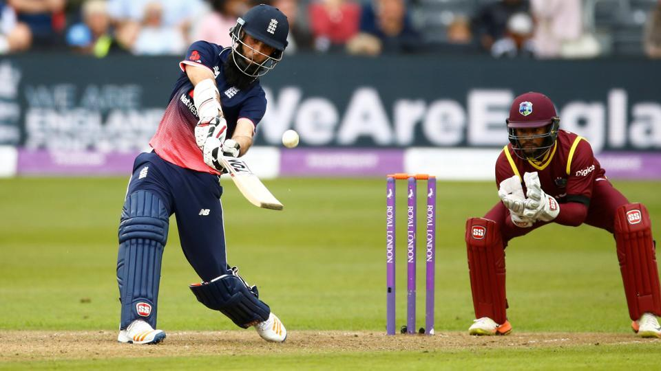 Moeen Ali in action against the West Indies in Bristol on Sunday. Moeen Ali struck the second quickest ODI hundred by an England player.