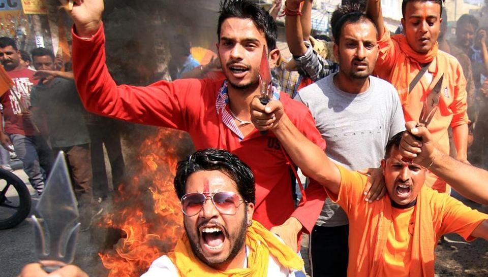 File photo of Bajrang Dal activists during a protest.
