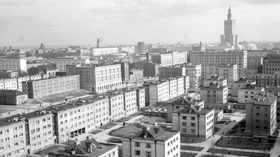 Warsaw in 1960s: A view of Muranow from the church tower of St. Augustine at Nowolipie Street in Warsaw.