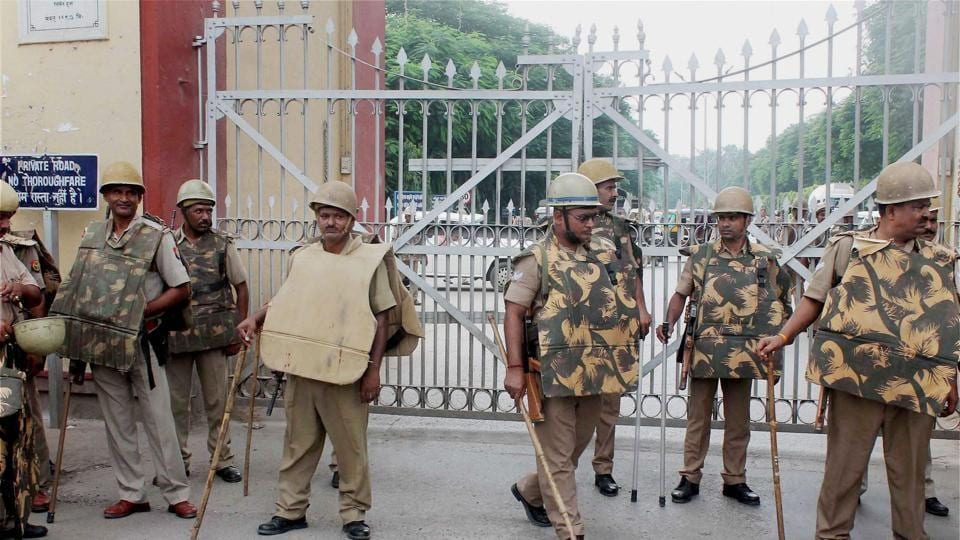 Police deployed at Banaras Hindu University in view of the students protests, in Varanasi on Monday.