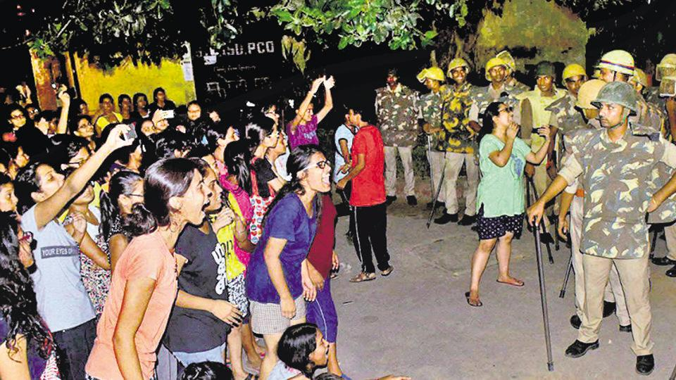 Students protest against the Banaras Hindu University's handling of a sexual harassment complaint, September  24