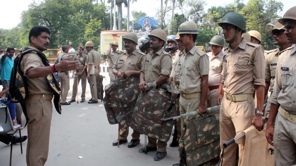 Varanasi policemen at the Banaras Hindu University campus after clashes with student on Saturday night.