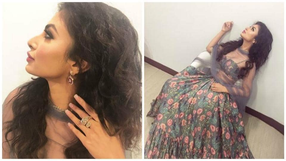 hair styles from the 70s mouni roy is ready for navratri festivities in floral 3218