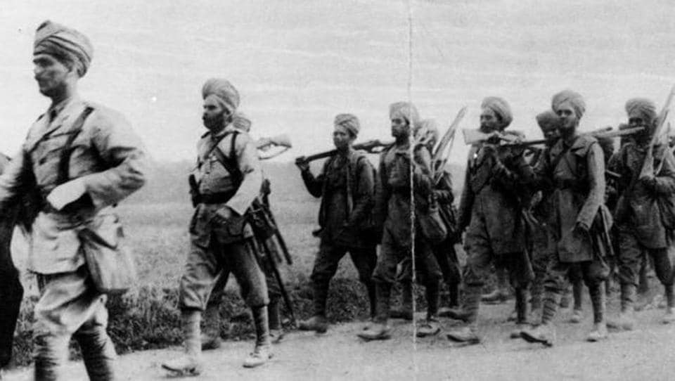 Indian infantrymen on the march in France during World War I.