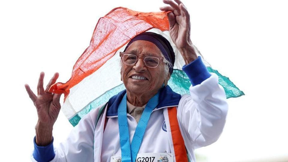 Mann Kaur celebrates after competing in the 100m sprint in the 100+ age category at the World Masters Games at Trusts Arena in Auckland earlier this year (file picture.