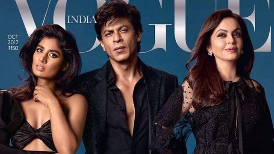 Mithali Raj, Shah Rukh Khan and Nita Ambani on the cover of Vogue's 10th anniversary edition.