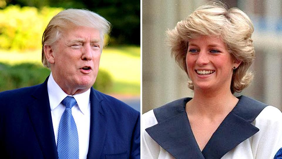 Combination image of Donald Trump and Princess Diana.