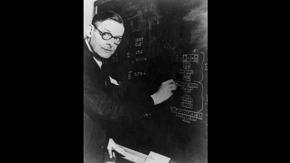 Eliot was also an  accomplished linguist. He's seen here at the blackboard at the Institute for Advance Study at Princeton, New Jersey, November 15, 1948. (Keystone Features / Getty Images)
