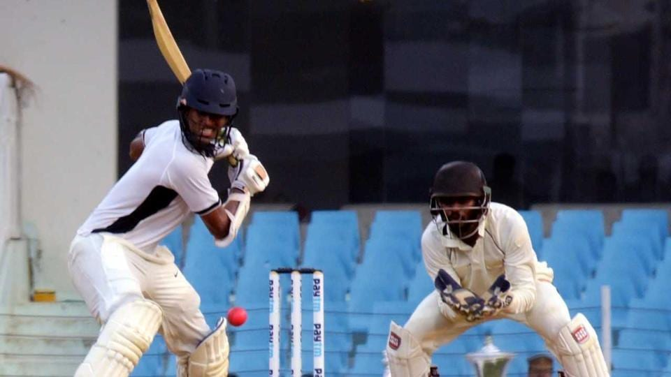 Washington Sundar plays a shot during his innings against India Blue.