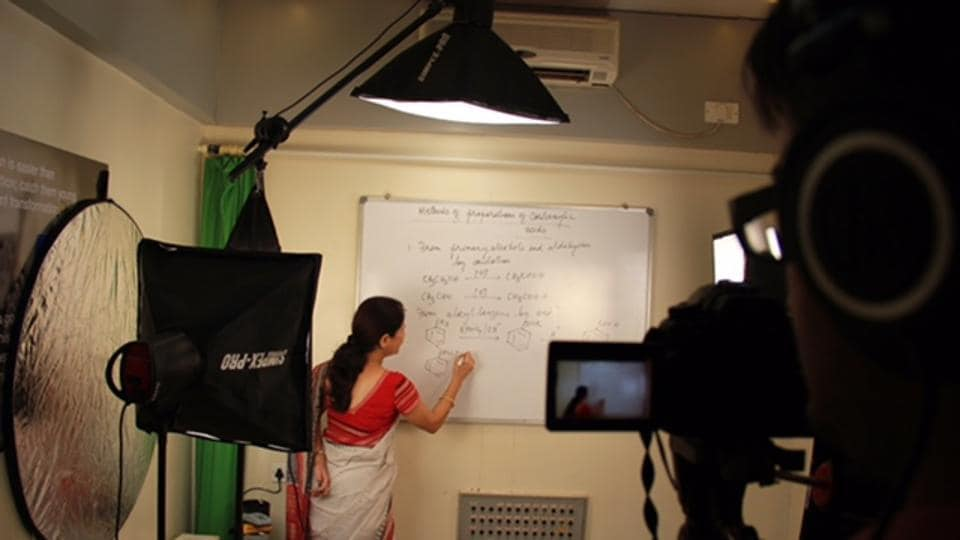 A video for a flipped classroom session being recorded at RNPodar School.